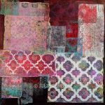 10. Monoprint Collage in Mulberry – 40 x 40cm