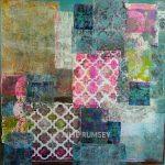 12. Monoprint Collage Tapestry Blues – 60 x 60 cm