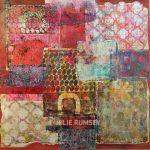13. Monoprint Collage Electric Crimson – 60 x 60cm