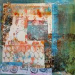 Monoprint Collage in Turquoise